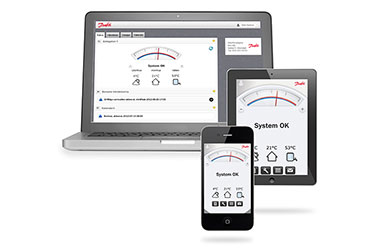 Danfoss home heating online controlapp  on different mobile devices