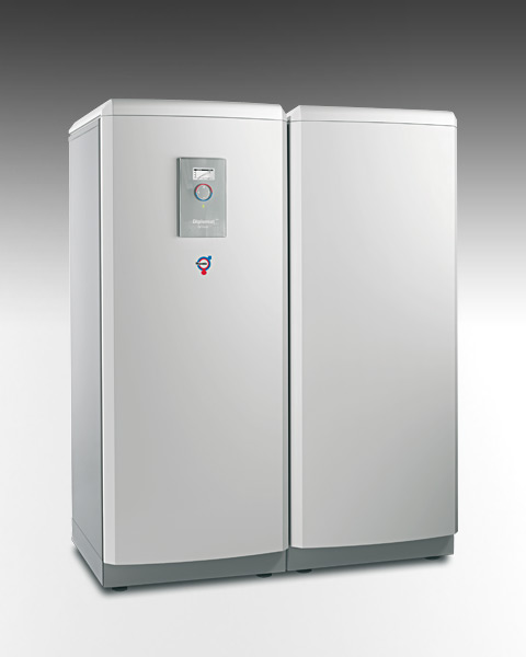 Ground source heat pumps with integrated hot water tank