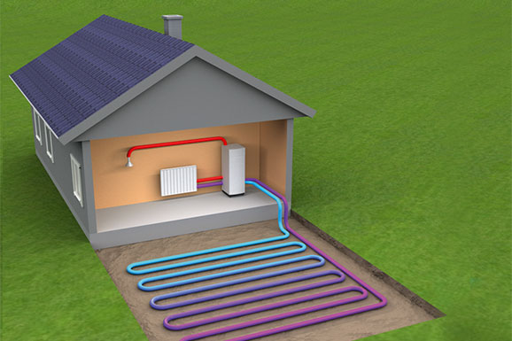 Ground source heat pump system diagram